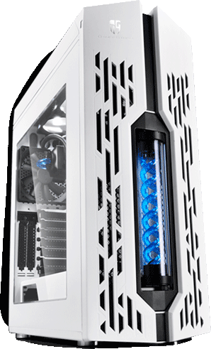 deepcool e-atx genome 2 case black with red liquid cooler