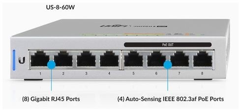 8 port ubiquiti unifi gigabit switch with 4 x poe pn us-8-60w