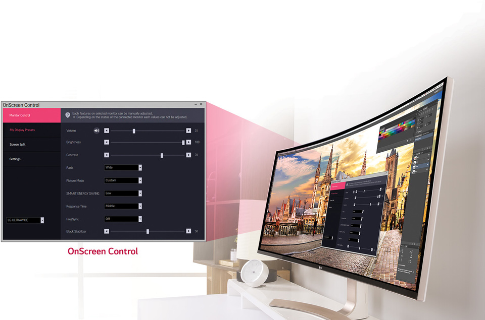 38UC99-W On-Screen Control
