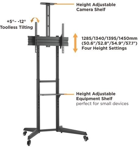 brateck t1040t versatile and compact steel tv cart