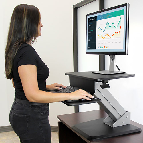 The sit-to-stand workstation lets you change to a standing position in moments with the one-touch height adustment