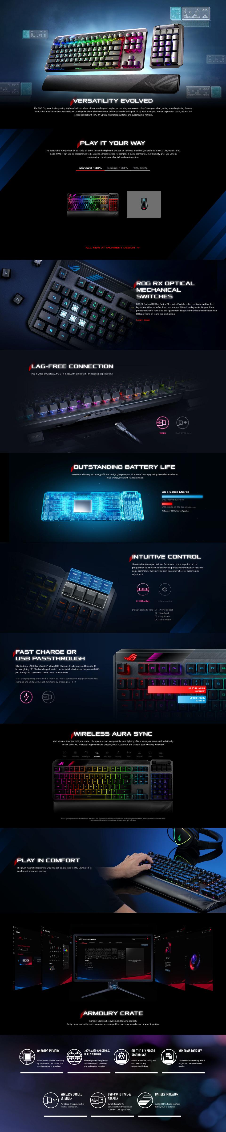 asus rog claymore ii modular wired rgb mechanical gaming keyboard