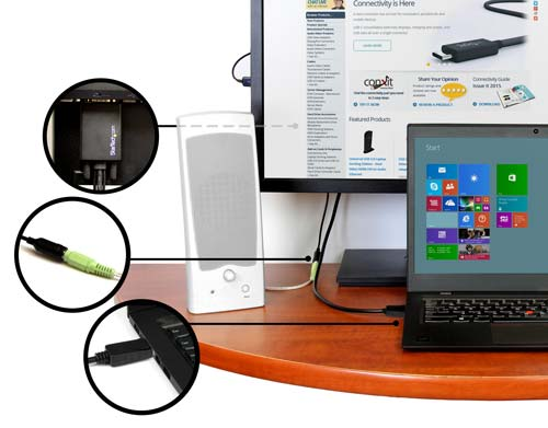 Workspace setup using the adapter cable