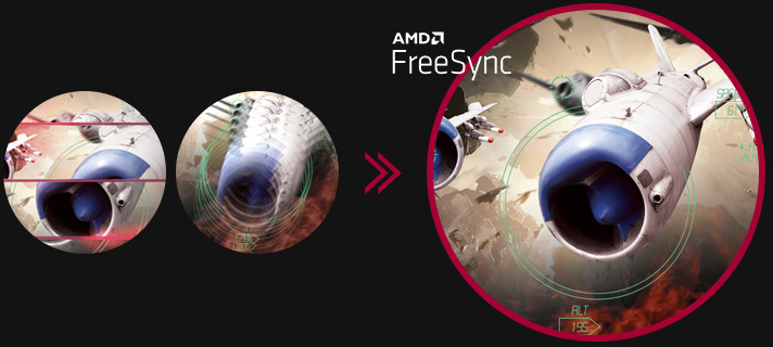Clear gaming image with seamless, fluid movement when AMD FreeSync™ is on, while screen stuttering and tearing occur when AMD FreeSync™ is off.