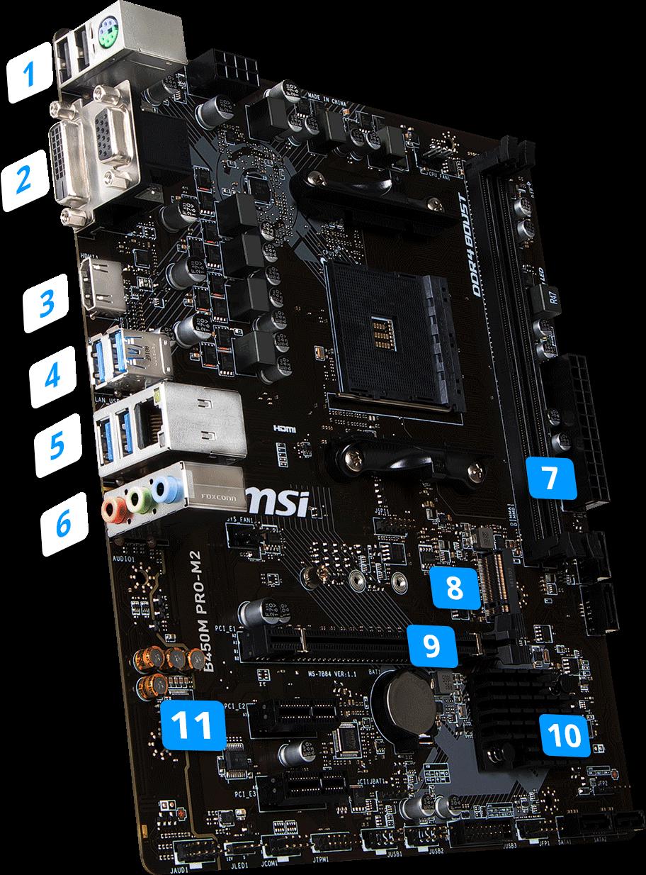 MSI AM4 MicroATX B450M PRO-M2 DDR4 Motherboard | Computer