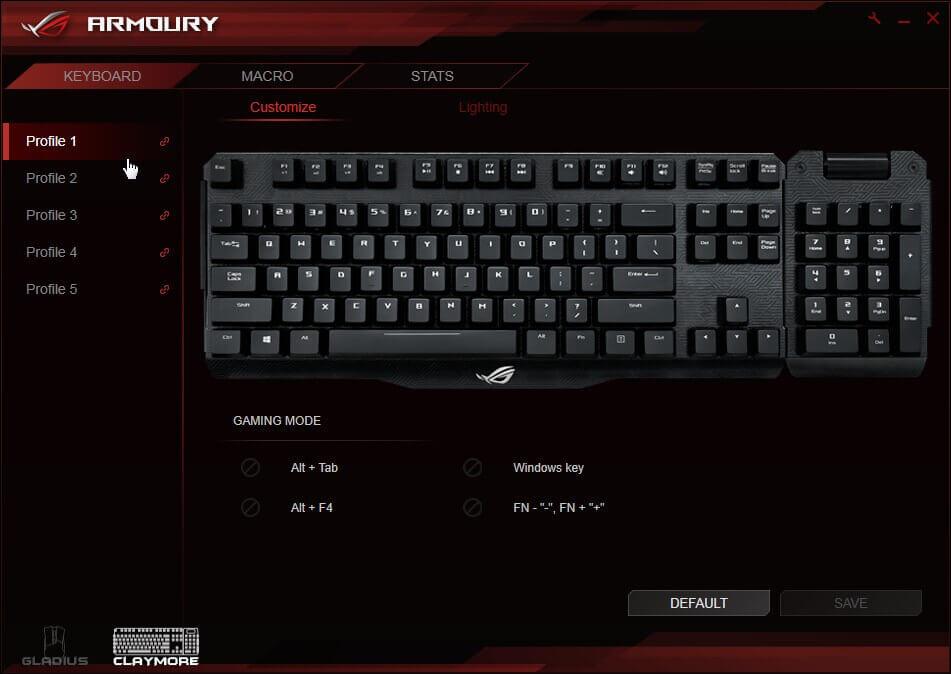 ASUS USB ROG MA01 CLAYMORE/BLU Cherry MX BLUE RGB Keyboard