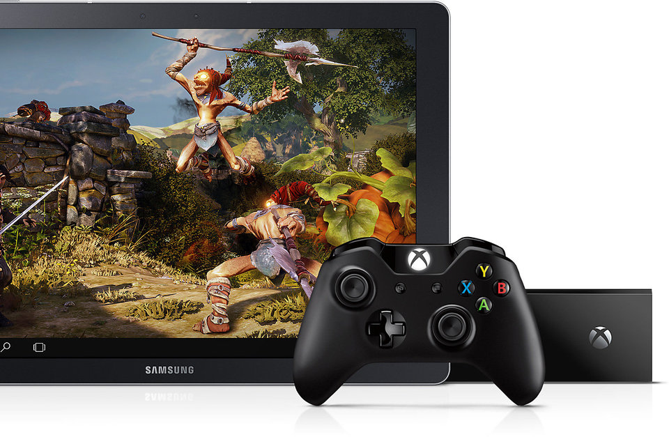 Galaxy TabPro S shown with X Box One console and its controller