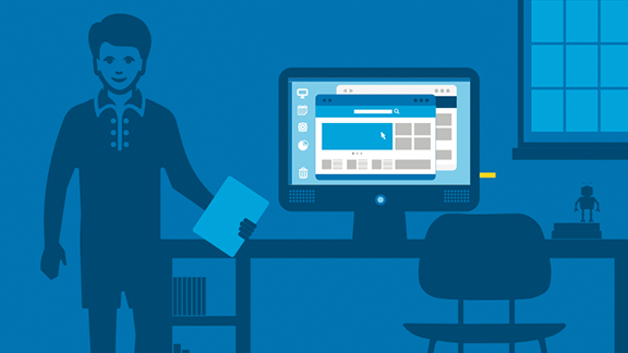 Illustration: man in office with desk and monitor with Intel Compute Stick