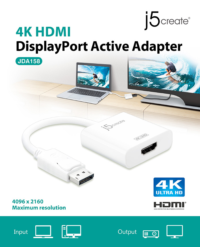 J5create JDA158 DisplayPort to 4K HDMI Active Adapter
