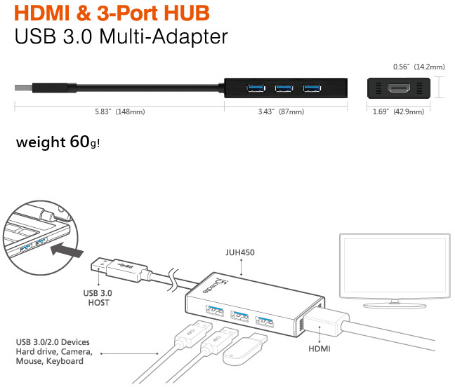 3 port j5create juh450 usb 30 with hdmi display adapter