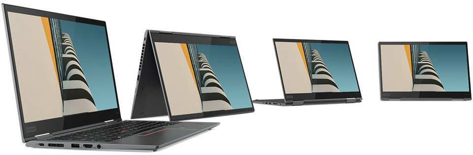 Four Lenovo ThinkPad X1 Yoga Gen 4 2-in-1s in a semi-circle, each in a different use mode: Laptop, Tent, Stand, Tablet.