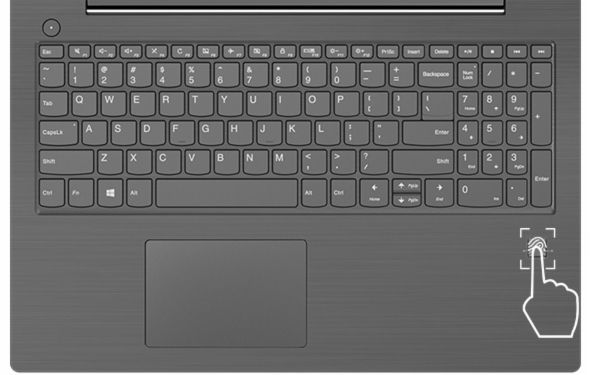 Lenovo V330 (15) overhead keyboard view, featuring fingerprint reader