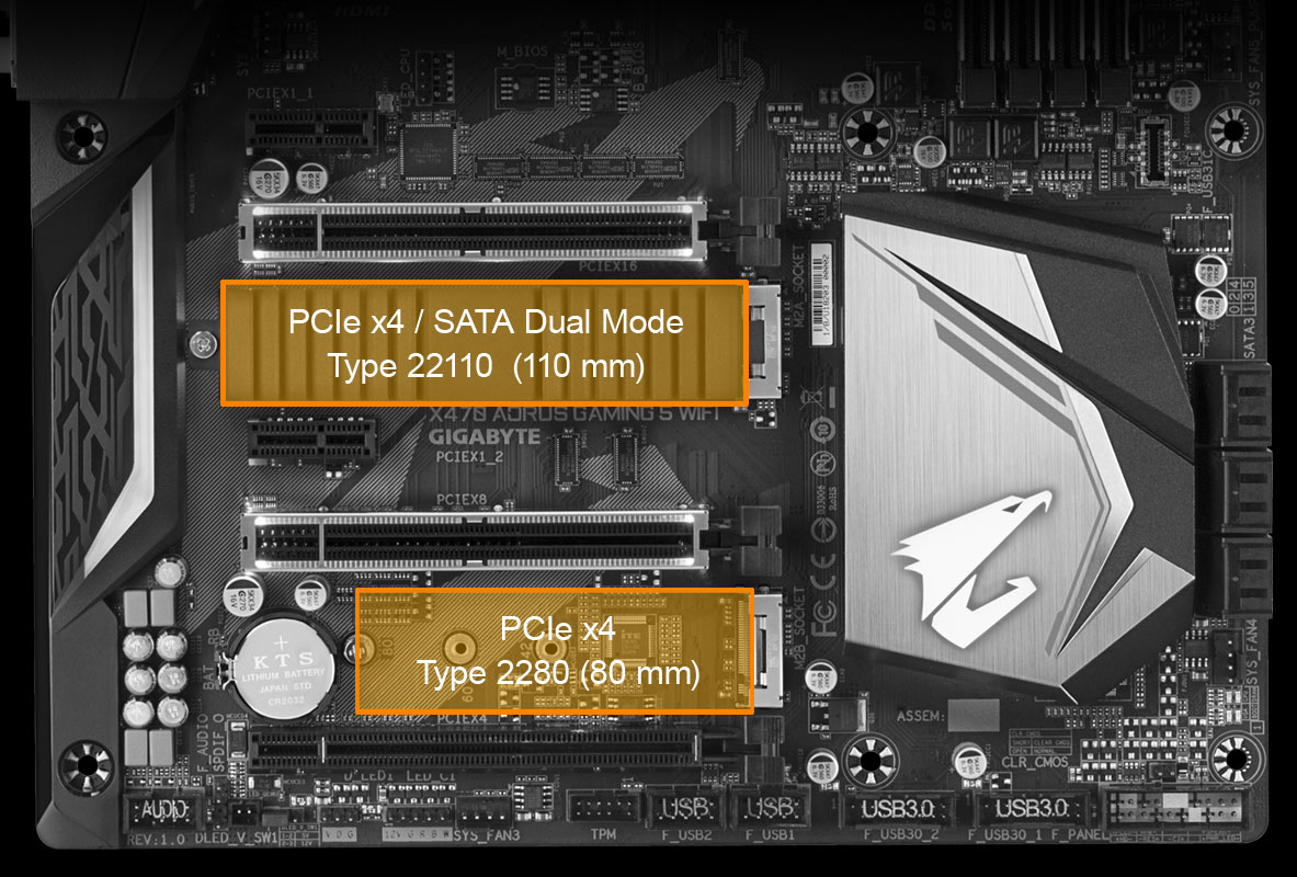 Gigabyte Am4 Atx X470 Aorus Gaming 5 Wifi Motherboard Computer Circuit Board Mouse Pad Geekery With Dual M2s Available On The Motherboards Configuring Raid Arrays Has Never Been Simpler