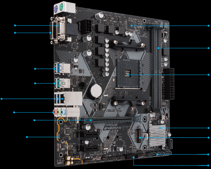 asus am4 microatx prime b450m-k ddr4 motherboard