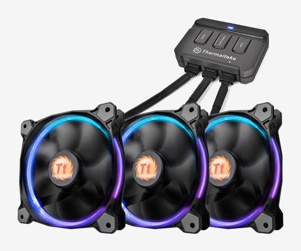 3 x 120mm Thermaltake Riing Trio 12 RGB High Static Fans