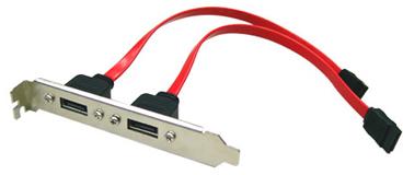 eSATA Bracket Dual Port with 40cm Cable Supports SATA I & II