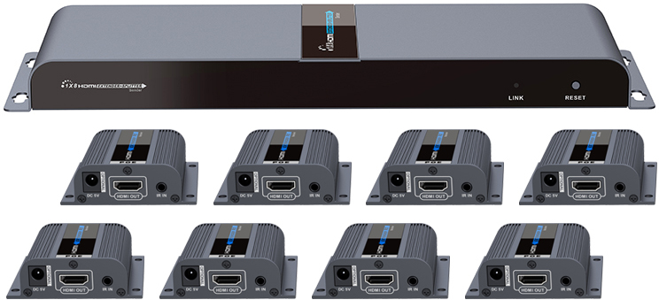 Lenkeng 8 ports HDMI splitter over cat6 1080p up to 60m with IR