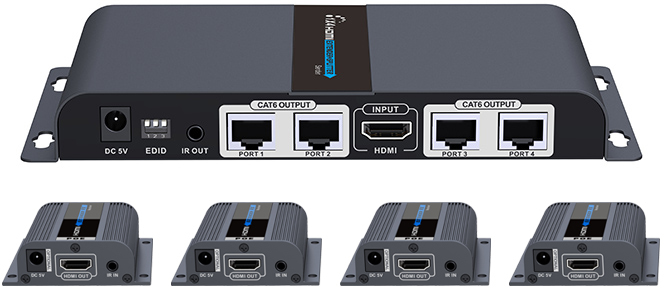 Lenkeng 4 ports HDMI splitter over cat6 1080p up to 60m with