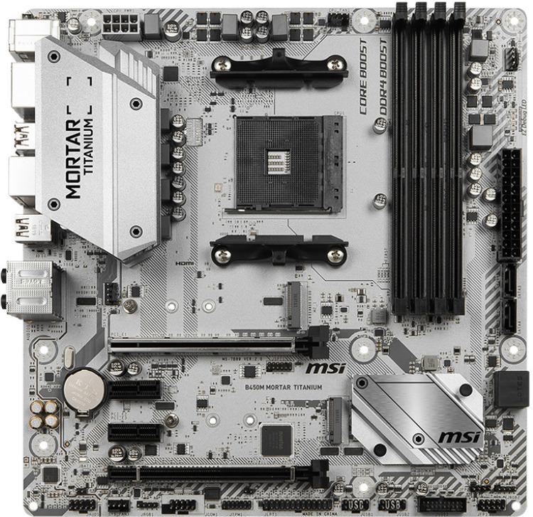 MSI AM4 MicroATX B450M MORTAR TITANIUM DDR4 Motherboard