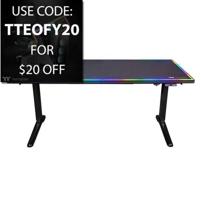 Level 20 Thermaltake RGB Battle Station Electric Gaming Desk PN GGD-LBS-BKEIRX-01, Use Code TTEOFY20 for $20 Off!