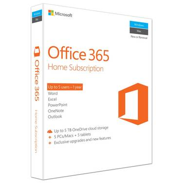 Microsoft Office 365 Home 1 Year Subscription RETAIL PN 6GQ-00752
