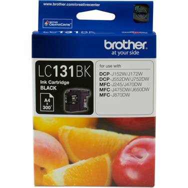 Brother LC-131BK Black Ink Cartridge (300 Pages)