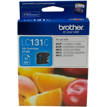 Brother LC-131C Cyan Ink Cartridge (300 Pages)
