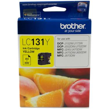 Brother LC-131Y Yellow Ink Cartridge (300 Pages)