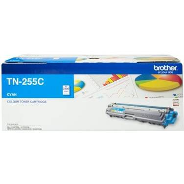 Brother TN-255C Cyan Toner Cartridge (2,200 Pages)