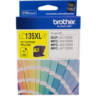 Brother LC-135XLY Yellow Ink Cartridge (1,200 Pages)