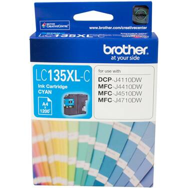 Brother LC-135XLC Cyan Ink Cartridge (1,200 Pages)