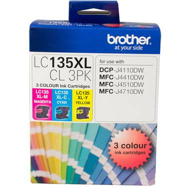 Brother LC-135XLCL3PK (C/M/Y) High Yield Value Pack (1,200 Pages)