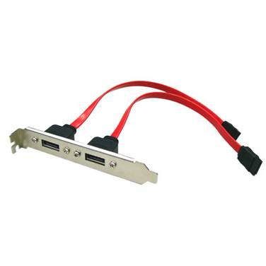 eSATA Bracket Dual Port with 40cm Cable Supports SATA I & II