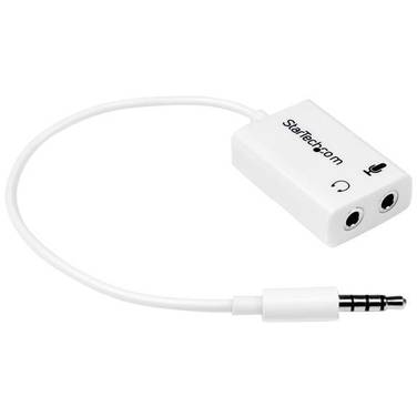 StarTech White headset adapter for headsets with separate headphone / microphone plugs - 3.5mm 4 position to 2x 3 position 3.5mm M/F
