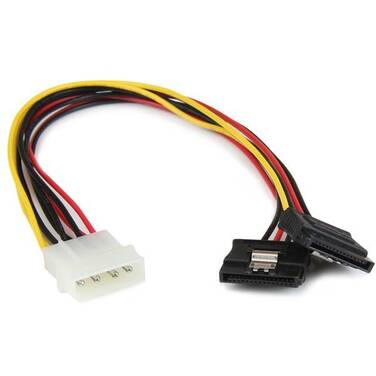 StarTech 12in LP4 to 2x Latching SATA Power Y Cable Splitter Adapter - 4 Pin Molex to Dual SATA