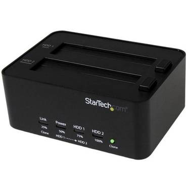 StarTech USB 3.0 SATA SATDOCK2REU3 Hard Drive Duplicator & Eraser Dock - Standalone 2.5/3.5in HDD & SSD Eraser and Cloner