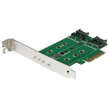 StarTech 3-Port M.2 SSD (NGFF) Adapter Card - 1 x PCIe (NVMe) M.2, 2 x SATA III M.2 - PCIe 3.0