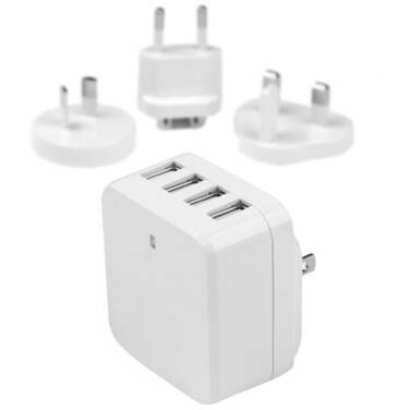 StarTech 4-Port USB Wall Charger - International Travel - 34W/6.8A - White