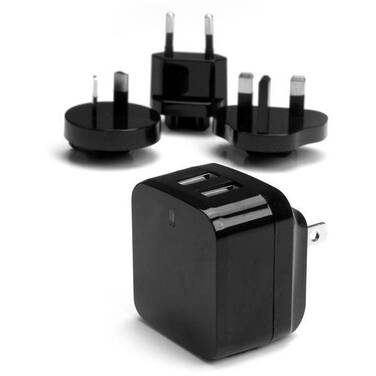 StarTech Dual-Port USB Wall Charger - International Travel - 17W/3.4A - Black
