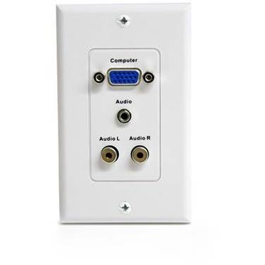 StarTech 15-Pin Female VGA Wall Plate with 3.5mm and RCA - White