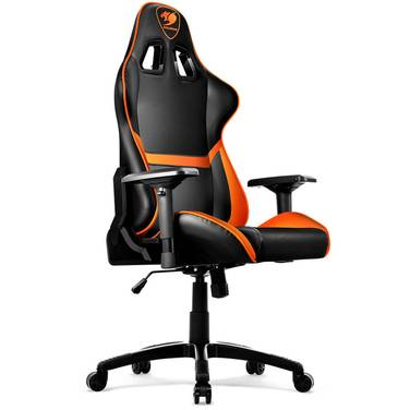 Cougar Armor Gaming Chair Black & Orange with Neck/Lumbar Support