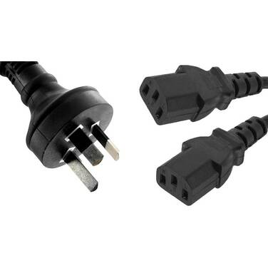 2 Metre 8ware Power Cable from 3-Pin AU Male to 2 IEC C13 Female Plug PN RC-3085AU-020