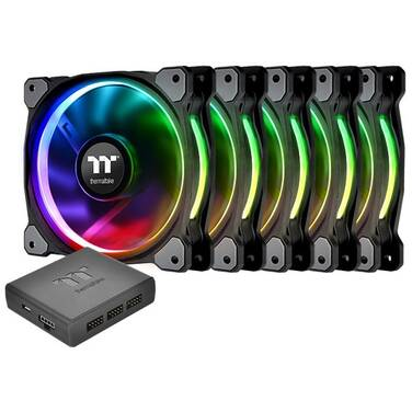5 x 120mm Thermaltake Riing PLUS 12 RGB Premium Fans with Controller PN CL-F054-PL12SW-A