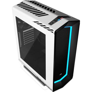 Aerocool ATX Project 7 P7-C1 White Mid Tower Case 7 Colour LED and Tempered Glass Panel (No PSU)