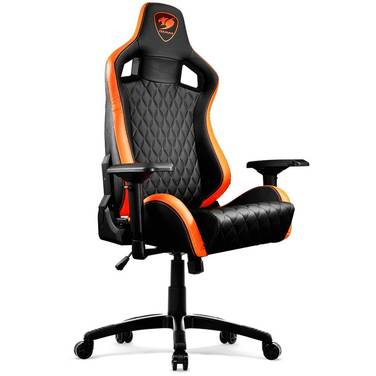 Cougar Armor S PVC Leather Gaming Chair Black & Orange with Neck/Lumbar Support