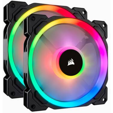 2 x 140mm Corsair Light Loop Series LL140 RGB Case Fan PN CO-9050074-WW