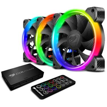 3 x 120mm Cougar Vortex RGB HDB Case Fan PN CF-V12SET-RGB