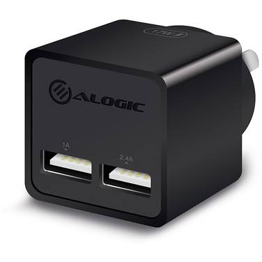 ALOGIC 2 Port USB Mini Wall Charger 2.4A+1A 17W Black PN WC2A17MBK