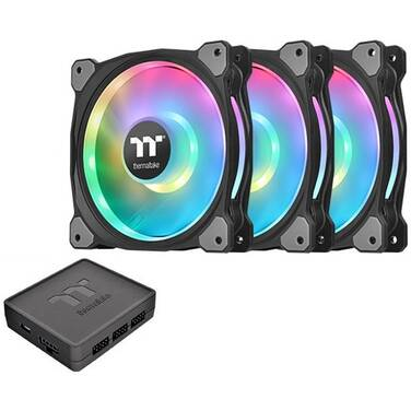 3 x 120mm Thermaltake Riing DUO 12 RGB Premium Fans with Controller PN CL-F073-PL12SW-A