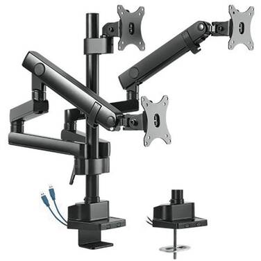 Brateck Triple Monitor Aluminum Slim Pole Held Mechanical Spring Monitor Arm 17 - 27 LDT20-C036UP